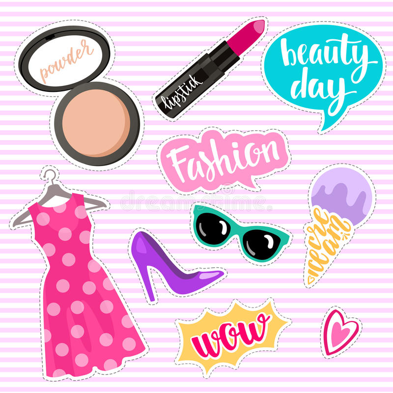 Ensemble d'éléments de mode dans le style de correction Coeurs, rouge à lèvres, crème glacée, lunettes de soleil, bulles de la pa illustration stock