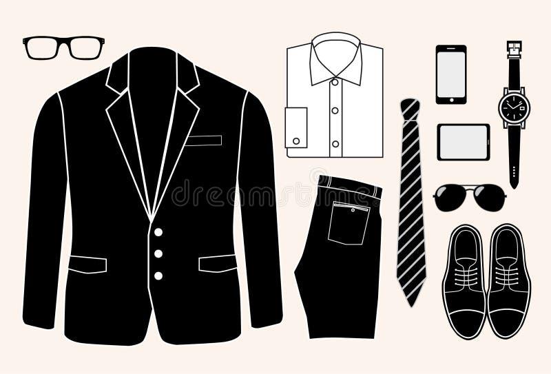 Ensemble d'éléments de mode de l'homme.  illustration illustration stock