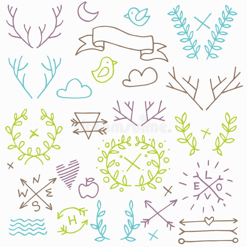Ensemble d'éléments de nature de hippie illustration stock
