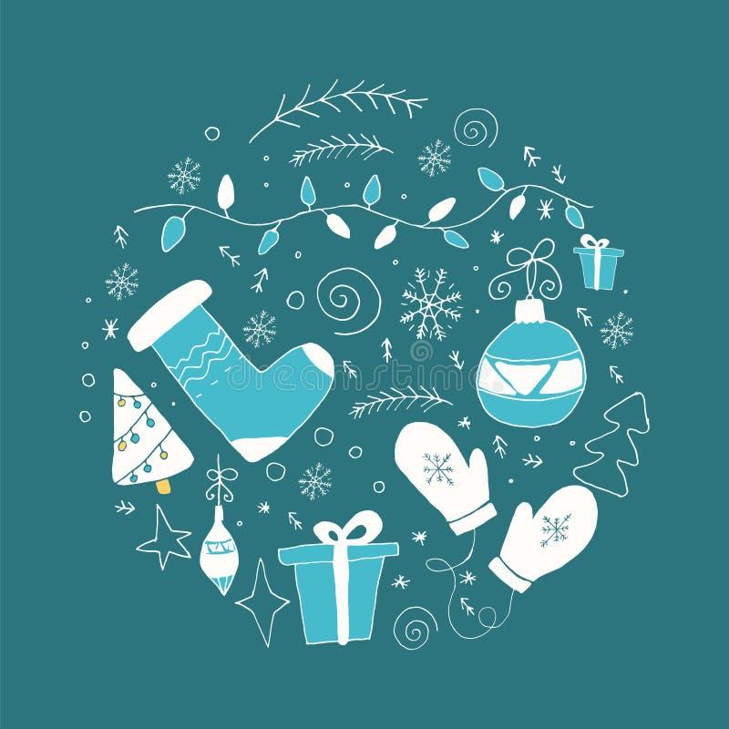Ensemble d'éléments de Noël en cercle dans des couleurs bleues et blanches illustration de vecteur