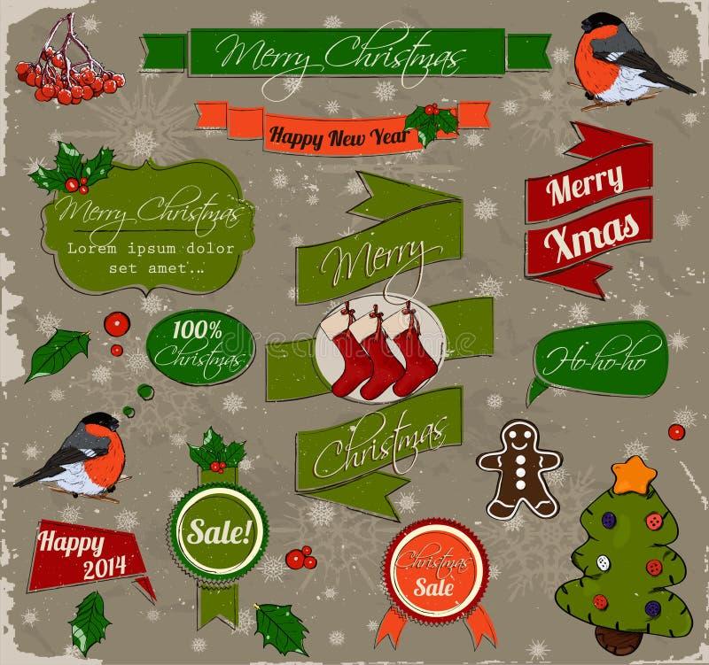 Ensemble d'éléments de Noël en rouge et le vert. illustration de vecteur