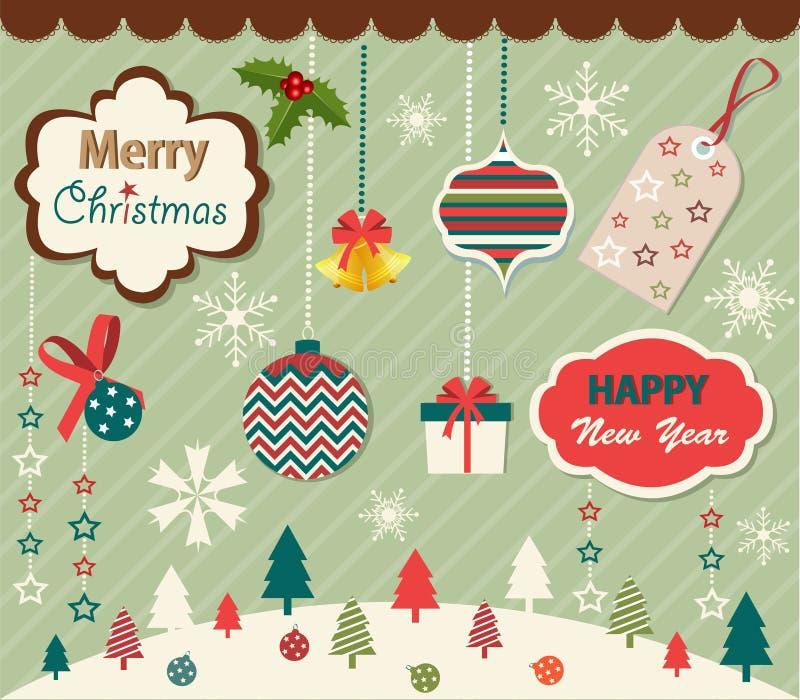 Ensemble d'éléments de Noël et d'an neuf illustration stock