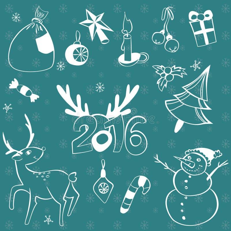 Ensemble d'éléments de Noël Graphismes de vecteur Ramassage d'éléments de conception Objets de bande dessinée Bonhommes de neige, illustration stock