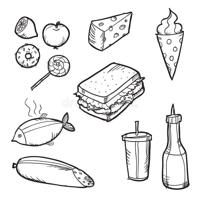 Ensemble d'éléments de nourriture de griffonnage Illustration de vecteur illustration stock