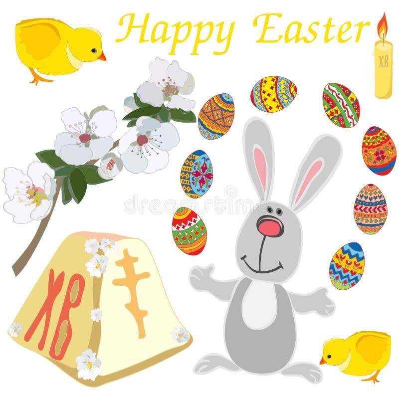 Ensemble d'éléments de Pâques : lapin mignon, poulet, branche de floraison tendre, bougie, oeufs peints d'isolement sur le fond b illustration stock