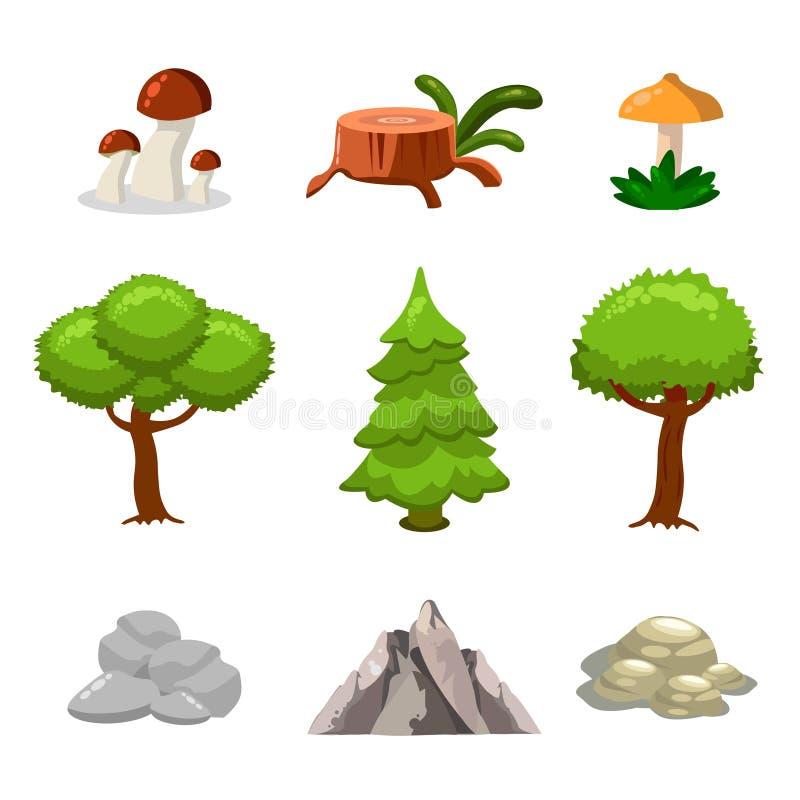 Ensemble d'éléments de paysage de nature de bande dessinée, arbres, pierres et clipart (images graphiques) d'herbe illustration stock