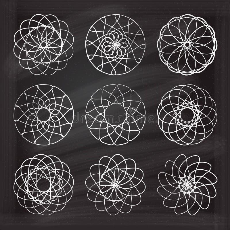 Ensemble d'éléments de spirograph de craie de vecteur illustration stock