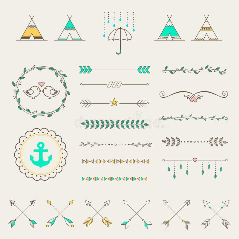 Ensemble d'éléments de style de croquis de hippie pour la rétro conception illustration libre de droits