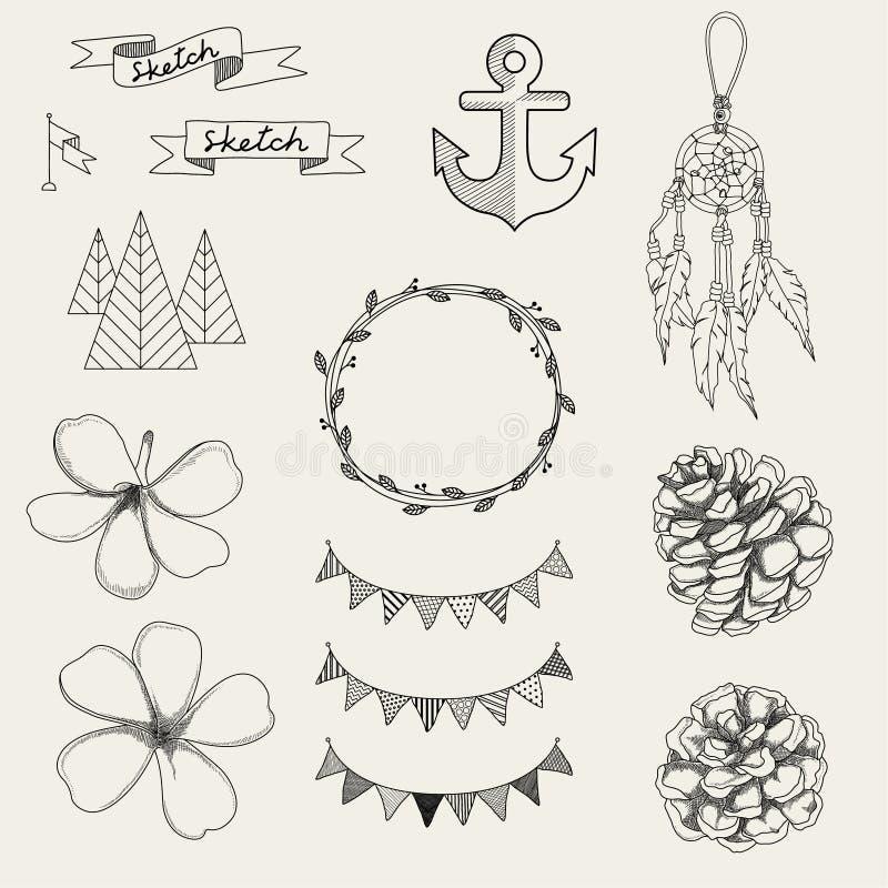 Ensemble d'éléments de style de croquis de hippie pour la rétro conception illustration stock