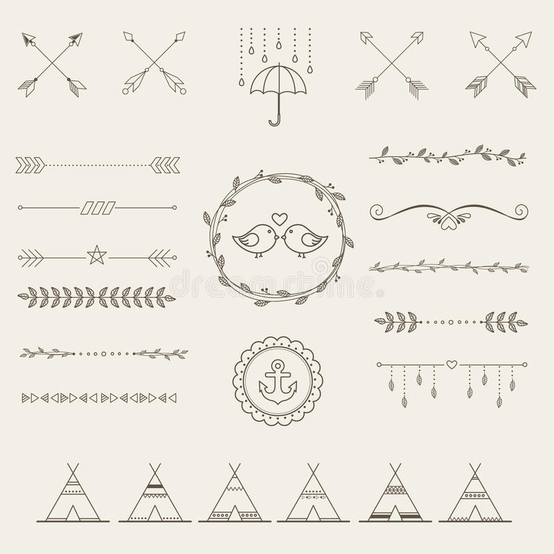 Ensemble d'éléments de style de croquis de hippie pour la rétro conception illustration de vecteur