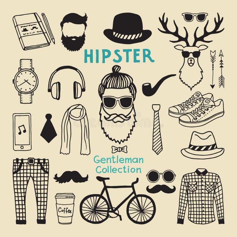 Ensemble d'éléments de style de hippie de caractère masculin Éléments géniaux tirés par la main pour votre projet de conception illustration de vecteur
