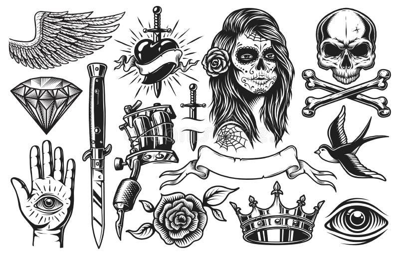 Ensemble d'éléments de tatouage de vintage illustration libre de droits