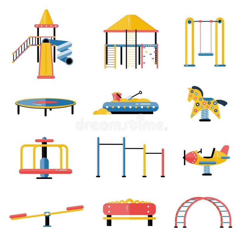 Ensemble d'éléments de vecteur de terrain de jeu d'enfants dans la conception plate Enfants illustration de vecteur