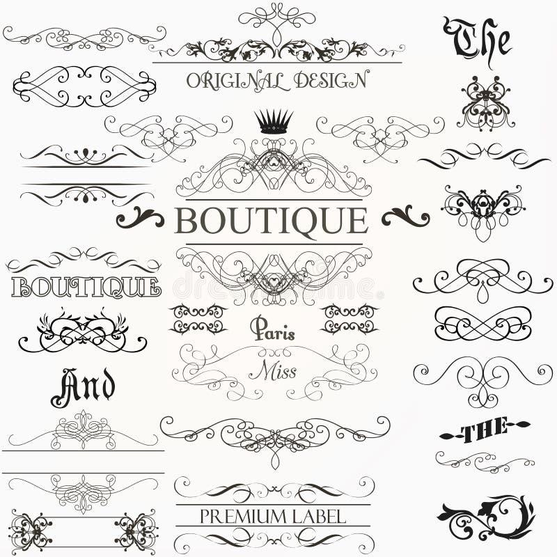 Ensemble d'éléments de vecteur et de décorations calligraphiques de page illustration libre de droits