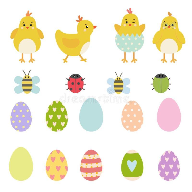 Ensemble d'éléments de vecteur de Pâques de caractères jaunes de poulet de ressort, de coccinelle mignonne, de scarabée et d'abei illustration libre de droits