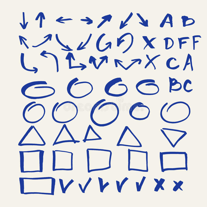 Ensemble d'éléments de vecteur pour des présentations de marqueur illustration libre de droits