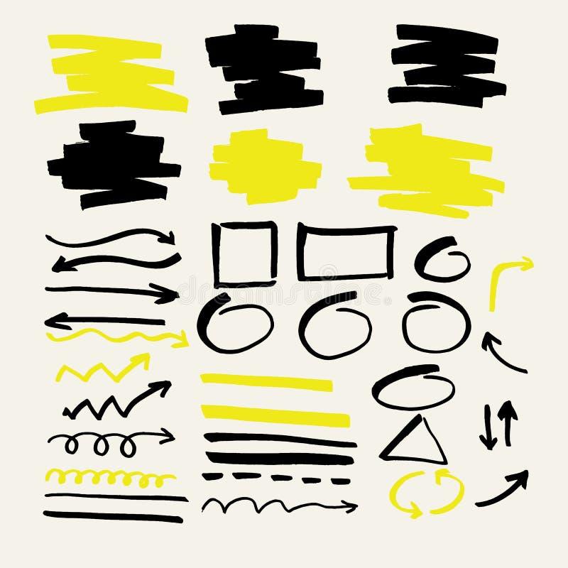 Ensemble d'éléments de vecteur pour des présentations de marqueur illustration de vecteur