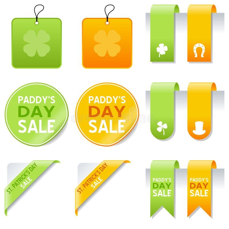 Ensemble d'éléments de vente de jour de St Patrick s illustration de vecteur