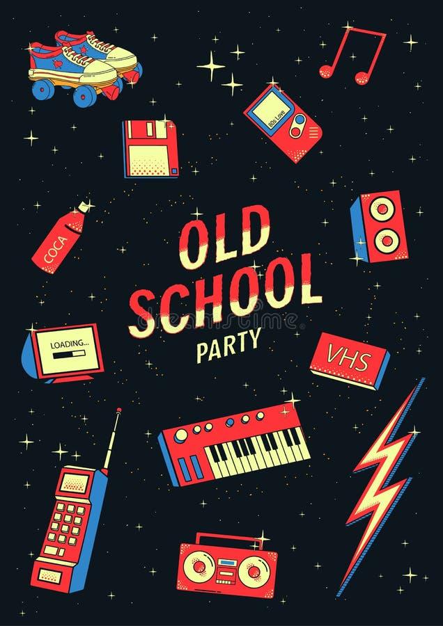 Ensemble d'éléments de vieille école illustration rétro et de disco avec des synthétiseurs, magnétophone, téléphone illustration de vecteur