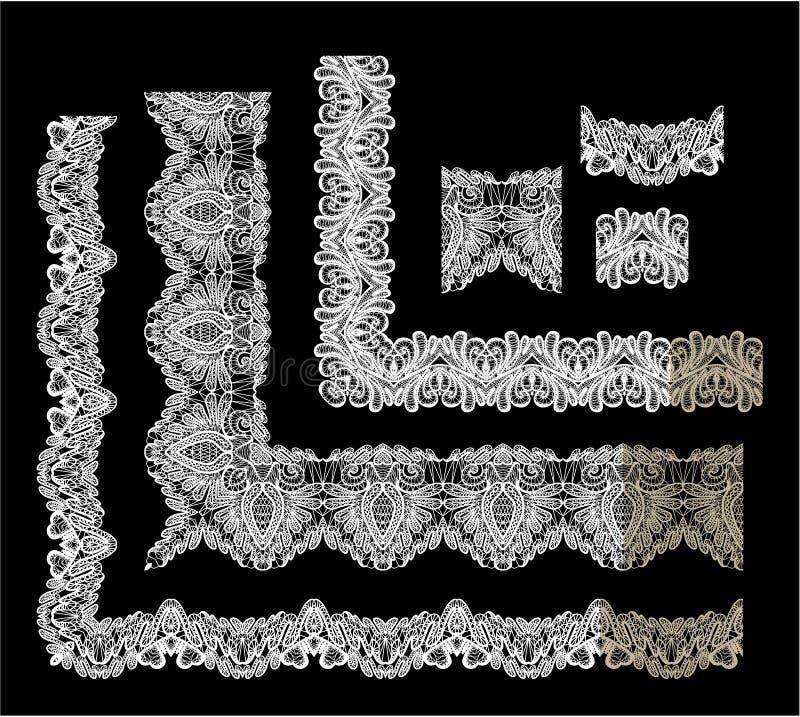 Ensemble d'éléments de vue - différents bords de dentelle illustration de vecteur