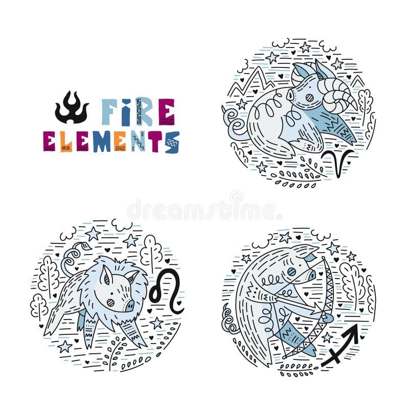 Ensemble d'éléments du feu de zodiaque illustration stock