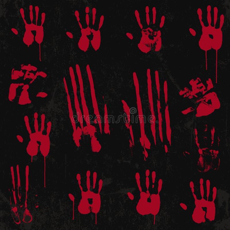 Ensemble d'éléments ensanglanté d'impression de main 01 illustration libre de droits