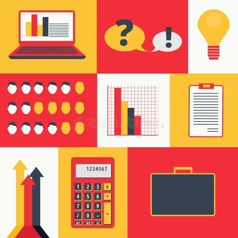 Ensemble d'éléments et d'icônes colorés d'infographics d'affaires Positionnement de graphisme de finances illustration stock