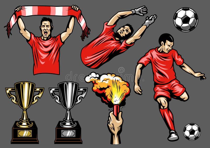 Ensemble d'éléments et de joueurs de football illustration libre de droits