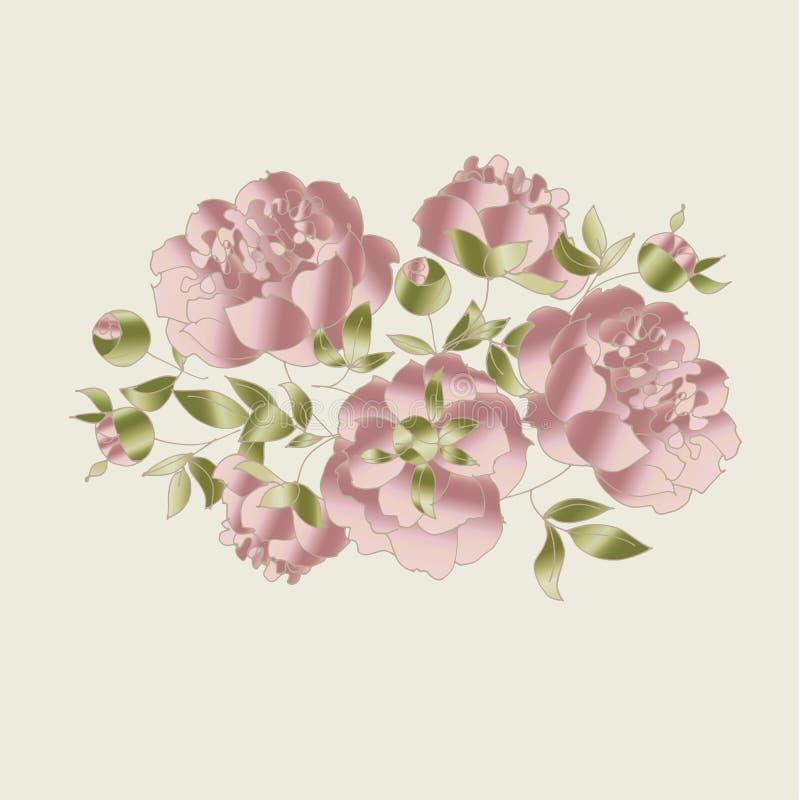 Ensemble d'éléments floral élégant tendre illustration de vecteur