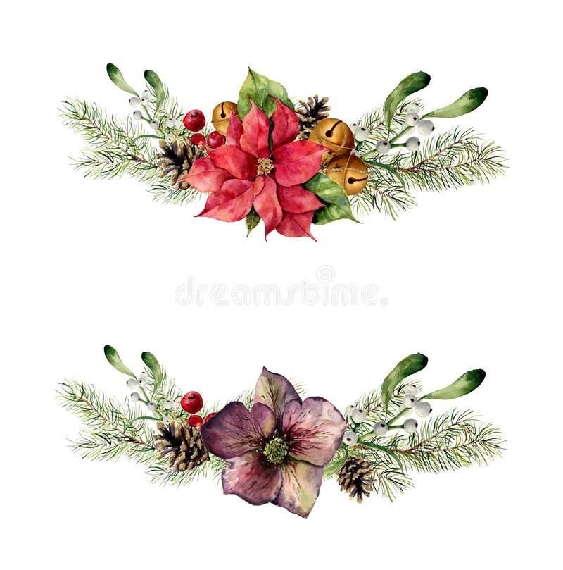Ensemble d'éléments floral de Noël d'aquarelle L'hiver de style de vintage a placé avec des branches d'arbre de Noël, hellebore,  illustration libre de droits