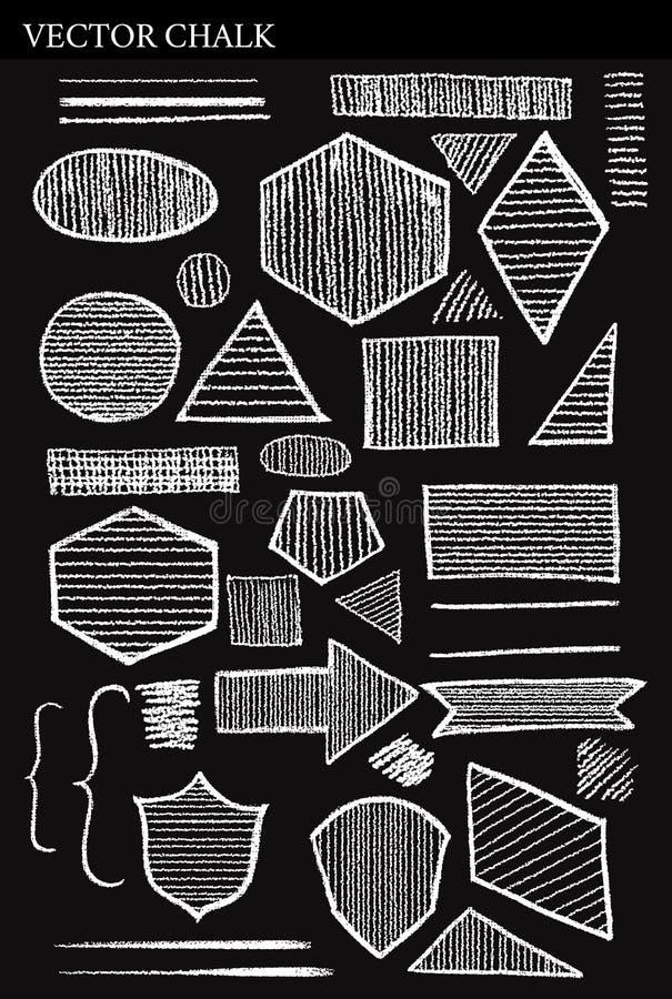 Ensemble d'éléments grunges de conception de formes de craie de vecteur illustration stock