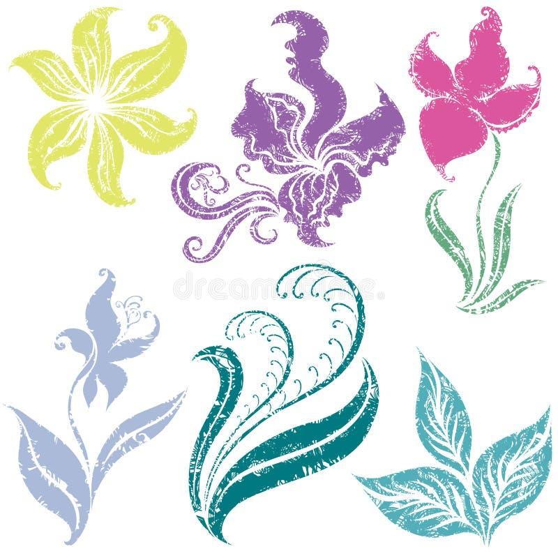 Ensemble d'éléments grunges de conception florale illustration de vecteur