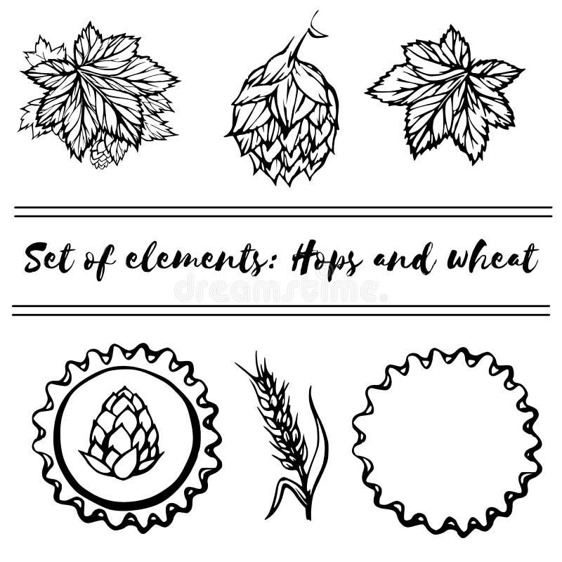 Ensemble d'éléments - houblon et blé illustration de vecteur