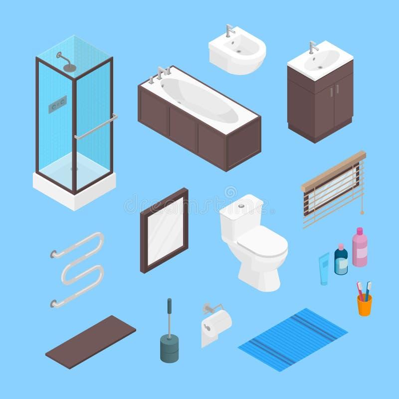 Ensemble d'éléments intérieur de meubles isométriques de salle de bains de vecteur Éléments de toilettes et ensemble d'équipement illustration stock