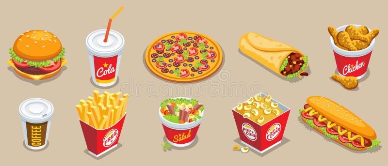 Ensemble d'éléments isométrique d'aliments de préparation rapide illustration de vecteur