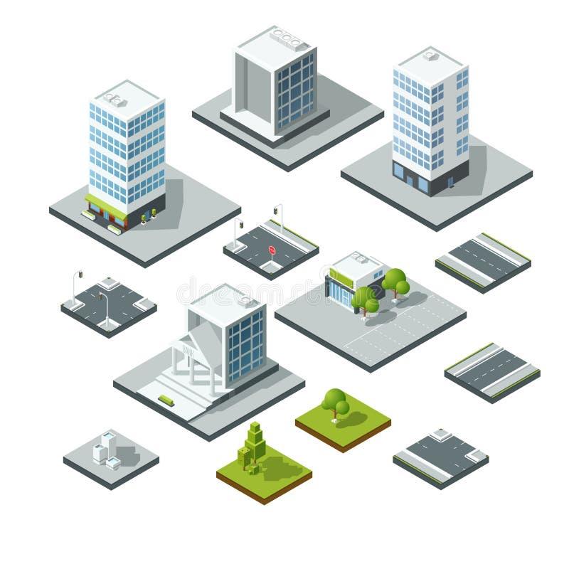 Ensemble d'éléments isométriques de conception de paysage de ville constructeur 3D illustration stock