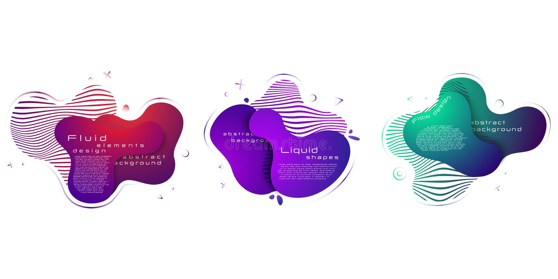 Ensemble d'?l?ments liquides abstraits, banni?res satur?es de gradient avec les formes liquides d'?coulement abr?gez le fond ENV  illustration stock