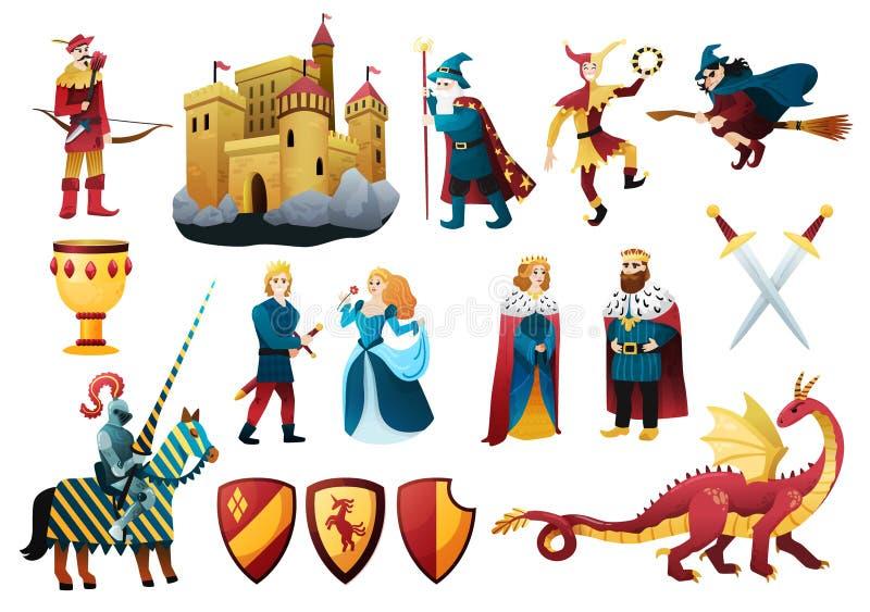 Ensemble d'éléments médiéval de royaume illustration de vecteur