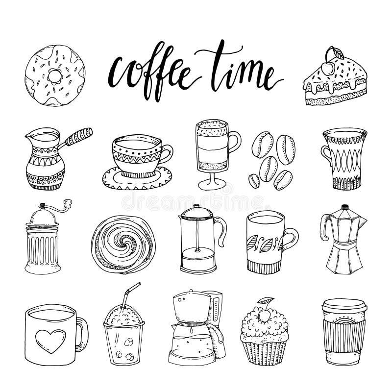 Download Ensemble D'éléments Monochrome Tiré Par La Main De Café Illustration de Vecteur - Illustration du machine, dessiné: 77158168