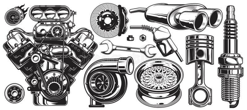 Ensemble d'éléments monochromes de service des réparations de voiture illustration libre de droits