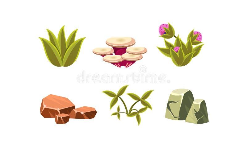 Ensemble d'éléments naturels de paysage Herbe verte, pierres, champignon et fleurs Conception plate de vecteur pour le jeu mobile illustration stock