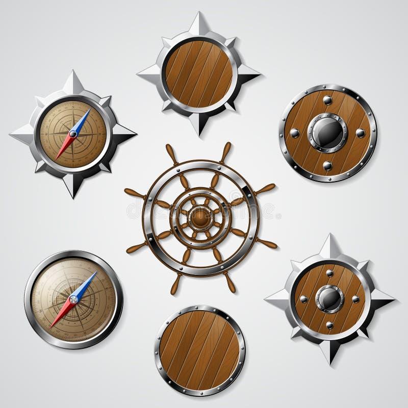 Ensemble d'éléments nautiques de conception illustration libre de droits