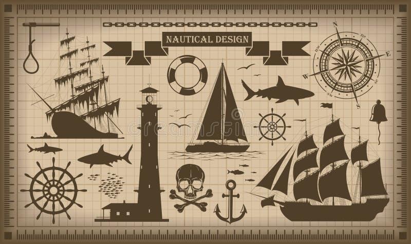 Ensemble d'éléments nautiques de conception, vecteur EPS10 illustration stock