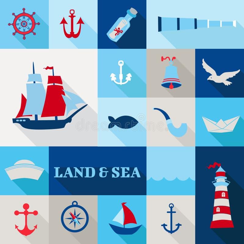 Ensemble d'éléments nautiques de vintage illustration de vecteur