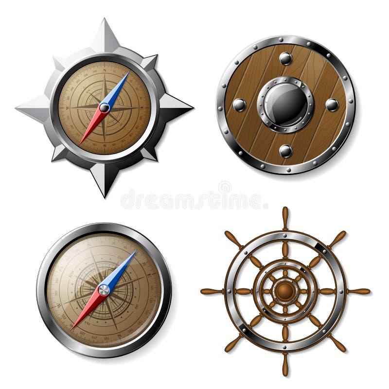 Ensemble d'éléments nautiques en acier et en bois illustration stock