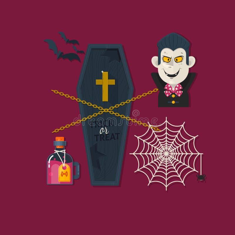 Ensemble d'éléments, d'objets et d'icônes mignons de Halloween de vecteur Illustration plate de vecteur illustration de vecteur