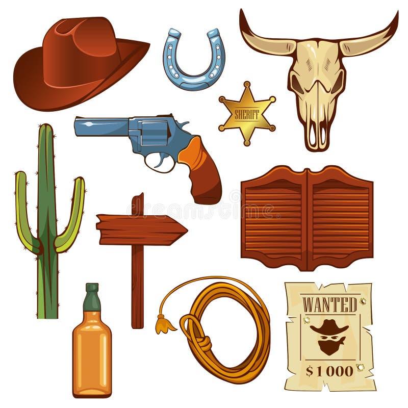 Ensemble d'éléments occidental sauvage coloré Crâne de Taureau, chapeau de cowboy, lasso, bouteille de whiskey et autre illustration libre de droits