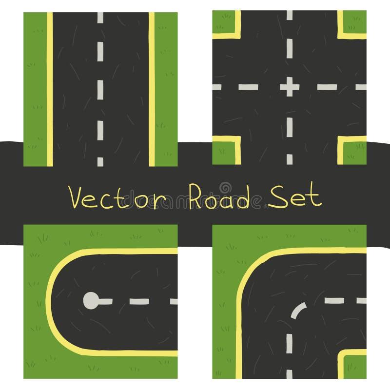Ensemble d'éléments plat de route de jeu illustration de vecteur