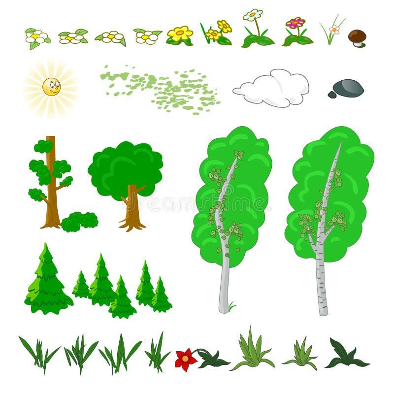 Ensemble d'éléments plats de forêt Incluez l'herbe, les fleurs, les champignons, les baies, les buissons, les arbres et le soleil illustration de vecteur