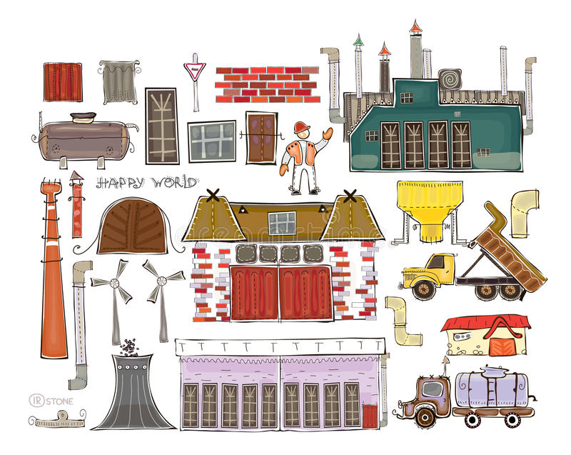 Ensemble d'éléments pour créer votre chantier industriel illustration stock